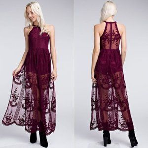 Wild Honey Wine Halter Lace Maxi Romper Size Small